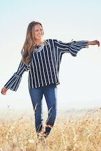 boho bird Stripe Me Happy Blouse