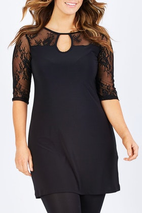 Y 3/4 Sleeve Lace Tunic