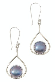 New Moon Mabe Pearl Blue Earrings