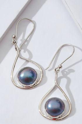 Lush Designs New Moon Mabe Pearl Blue Earrings