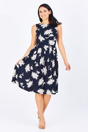 #<Brand:0x0000001cfd7f20> Shelby Navy & Oyster Daisy Dress