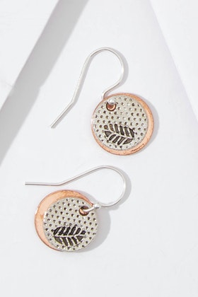 Nest Of Pambula Fern And Rose Disc On Sterling Silver Drop Earrings