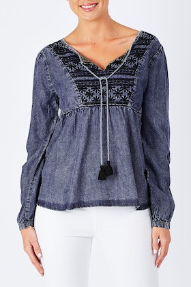 Orientique Boho Embroidered Top
