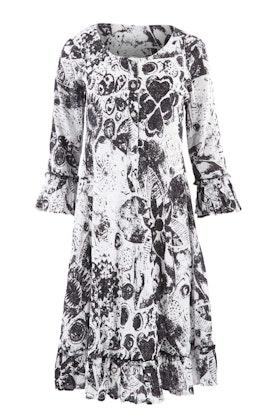Orientique Black Floral Dress
