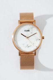 La Roche Mesh Rose Gold White Marble Watch