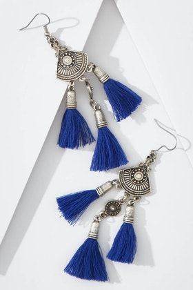 Isle & Tribe Sahana Silver Tassel Earrings
