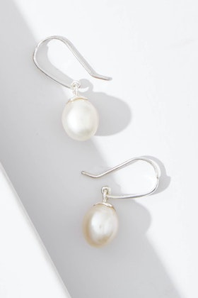 Lush Designs Pearl Hook Sterling Silver Earrings
