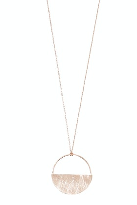 Tiger Tree Scratched Rose Gold Half Full Pendant Necklace