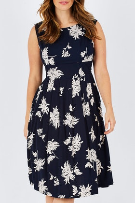 Elise Shelby Navy & Oyster Daisy Dress