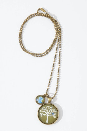 Nest Of Pambula Blue Bird In Tree Pendant