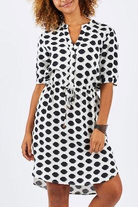 Jump Spot Tie Waist Shirt Dress