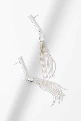 Adorne Rod Metal Tassel Earrings