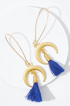 Isle & Tribe Celeste Crescent Moon Tassel Earrings