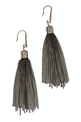 Adorne Painted Chain Tassel Hook Earrings