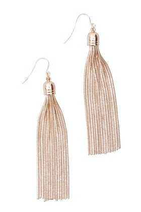 Adorne Long Capped Metal Tassel Hook Earring
