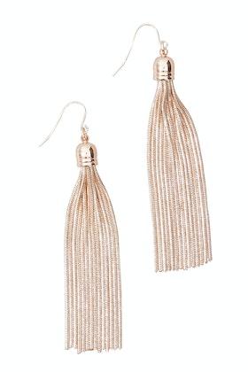 Adorne Long Capped Metal Tassel Hook Earring