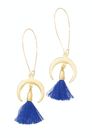 Celeste Crescent Moon Tassel Earrings