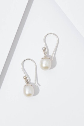 Lush Designs Single Pearl Hook Earrings