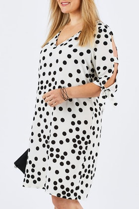 Belle bird Belle Spot Tie Sleeve Shift