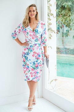 Belle Pale Flowers Wrap Dress