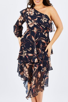Wish Painted Floral Off The Shoulder Dress