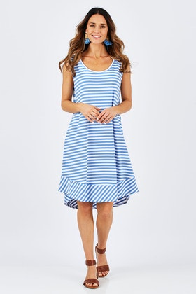 bird keepers The Contrast Stripe Sleeveless Swing Dress