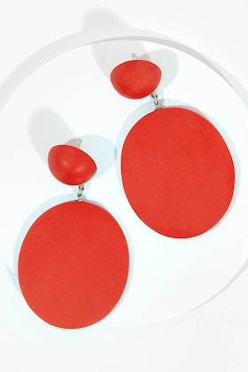 Ruby Olive French Twist Disc Earrings