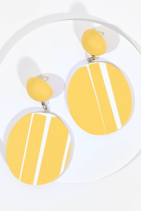 Ruby Olive French Stripe Disc Earrings