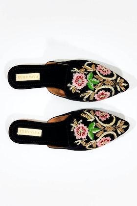 Ruby Yaya Indira Embroidered Mule Flat