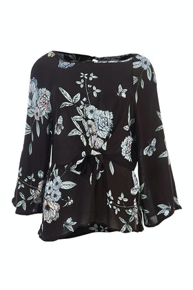 Sass Floral Oasis Tie Front Blouse
