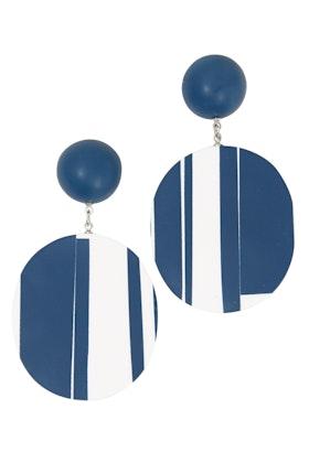 Ruby Olive French Stripe Disc Earrings