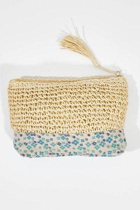 Rancho Raffia Linen Clutch Bag