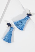 Greenwood Designs Bezel Set Tassel Earrings