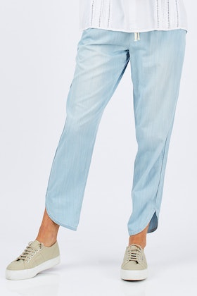 bird keepers The Chambray Curved Hem Pant