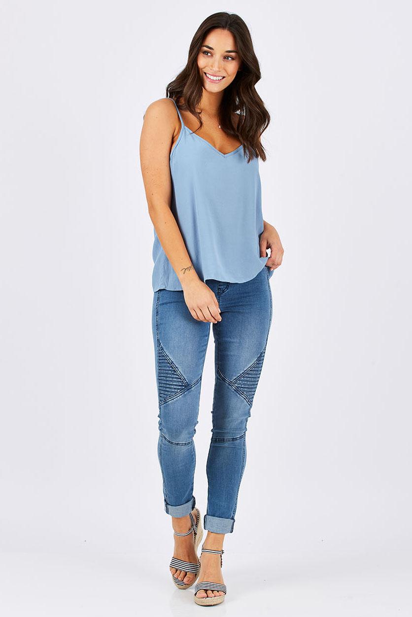 NEXT Blue 100/% Cotton Embroidered Ladies Vest Cami Boho Top PLUS SIZE 14 18 20
