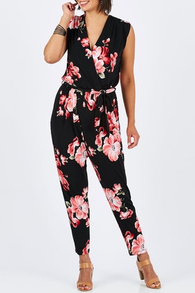 handpicked by birds Printed Frontcross Jumpsuit