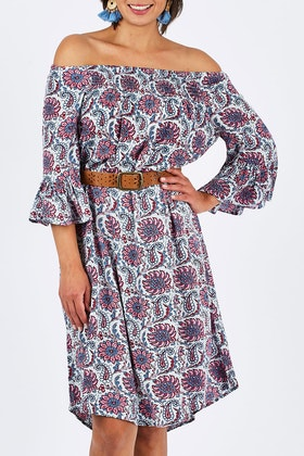 handpicked by birds Off Shoulder Floral Dress
