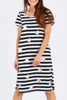 Threadz Stripe Foil Spot Dress