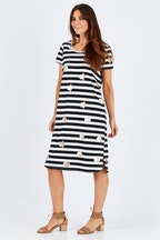 Threadz Stripe Foil Spot Dress