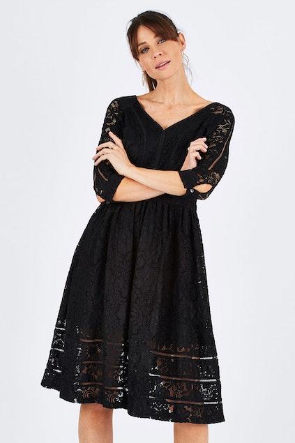 6bb4756e2f436 bird by design The 3 4 Sleeve Lace Dress - Womens Knee Length ...