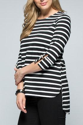 Clarity By Threadz Stripe Cuff Tee