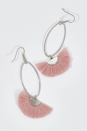 Isle & Tribe Silver Caprioska Tassel Earrings