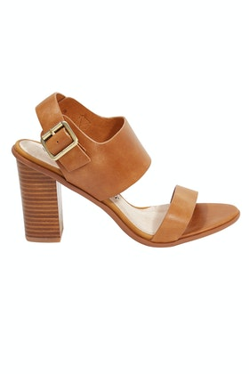 Walnut Havana Leather Block Heel