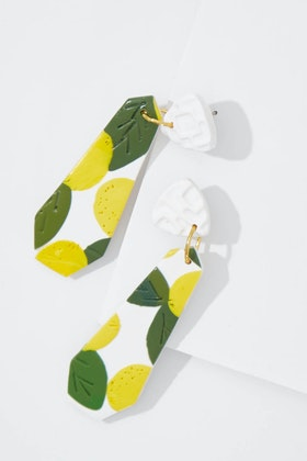 Seeking Hazel Large Dangle Lemon Earrings