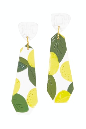 Seeking Hazel Large Dangle Lemon Earrings