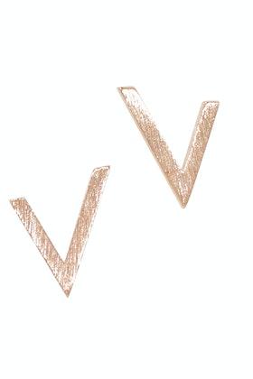 Eb & Ive V Rose Metal Pins Stud Earrings