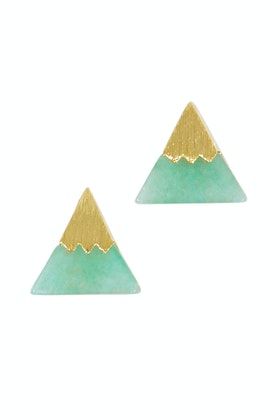 Eb & Ive Triangle Chrysophrase Stone Pins Stud Earrings