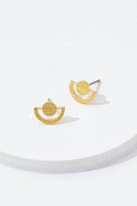 Eb & Ive Eye Gold Metal Pins Stud Earrings