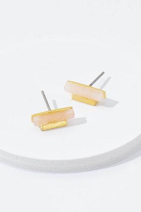 Eb & Ive Rose Bar Stone Pins Stud Earrings