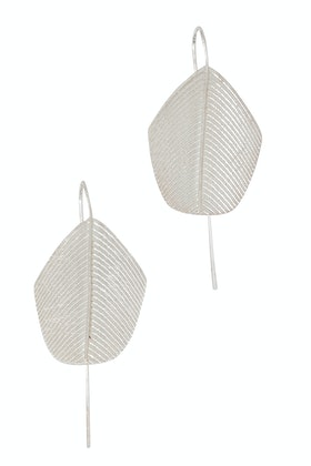 Tiger Tree Scratched Silver Royal Leaf Pin Earrings